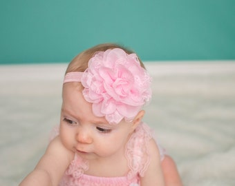 Pink Lace Flower Headband, Light Pink Headband, Baby Hair Bow, Newborn Headband, Baby Headband