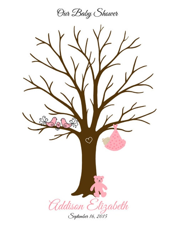 baby shower thumbprint tree guest book poster baby boy baby girl