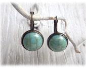 Ohrhänger einfache türkise Ohrringe im Vintage Stil mit Cabochon