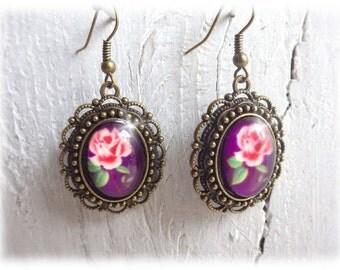 Rose Violet - Earrings vintage style bronze romantic violet rose