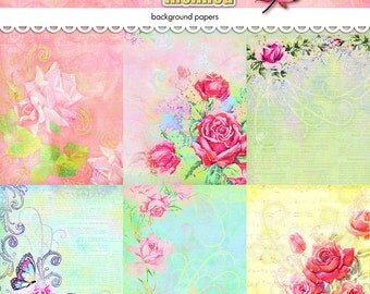 """Digital vintage rose background papers / instant download / printable / JPEG / 12"""" by 12"""" / romance, Valentine's Day, pastel colors, love"""