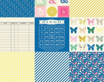 """Digital whimsical vintage spring background papers / printable / JPEG / 6"""" by 6"""" / butterfly, ampersand, polka dot, bingo, striped"""