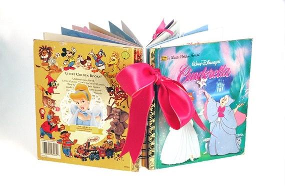 Altered Disney Cinderella princess book / premade scrapbook / mini album / upcycled repurposed Little Golden Book / journal autographs photo