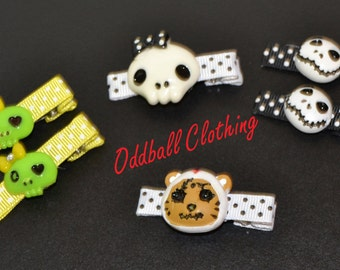 Set of 6 Halloween Ghouls Skull Hair Clippies