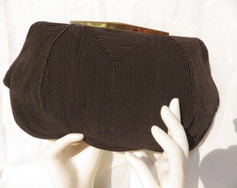 1950s M & C Genuine Corde Vintage Clutch Handbag Brown with Gold Clasp