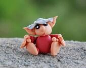 Elf Figurine, Mushroom Troll, grey silver toadstool miniature, fantasy gnome, woodland creature, fairy garden sculpture, OOAK polymer clay