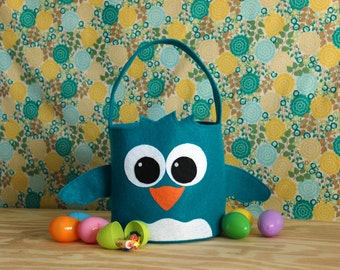 Monogrammed Chick Easter Basket Felt Bird