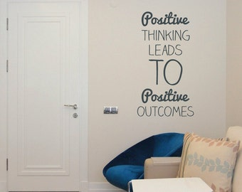 Positive Thinking Wall Sticker Decal Wall Vinyl Quote Mural Inspirational Words Wall Art