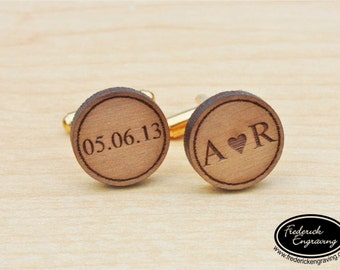 Anniversary Cuff Links - You Heart Me with Date - Custom Engraved Men's Wood Cuff Links - Personalized Cuff Links - Wedding Gift - CF-09