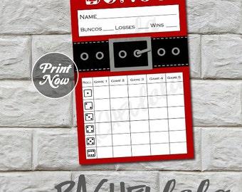 Bunco score card, Santa Suit, instant download