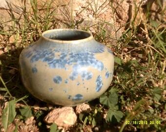 short blue crystalline glazed ceramic pottery vase