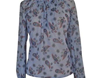 Womens/Ladies 1970's Vintage Clothes, Paisley Boho Blouse/Shirt/Top