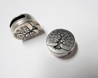 10mm Tree of Life  Button Side to Side Slider for Flat leather bracelets, Antique Silver