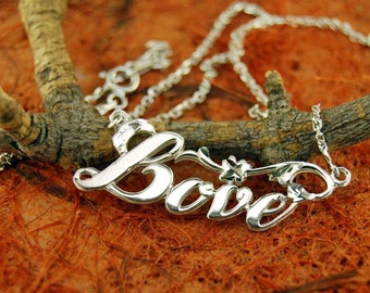 Necklace with LOVE Pendant - .925 Sterling Silver - Gift Idea - Love Jewelry - Anniversary Gift -Graduation Gift- Free Shipping!!!