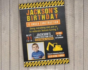 Birthday Invitation Construction / Dump Truck Invitation / Construction Invitation / Construction Party Invitation / Construction Invite
