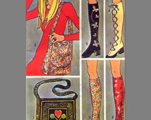 Retro Boho Shoe Spats and Shoulder Bags, Roller Derby Accessories, Derby Spats, 1970s Sewing Pattern Simplicity 9553