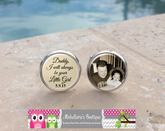 Personalized I will always be your little girl Custom photo Cuff Links and or Tie Clip,Custom Wedding Party Gifts,Father of the Bride,Mens