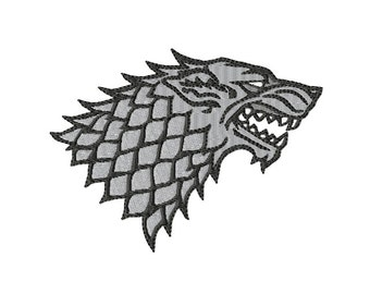 Winter is Coming - House Stark - DIREWOLF ~ Filled Machine Embroidery Design in 4 sizes ~ Instant Download ~ Game of Thrones