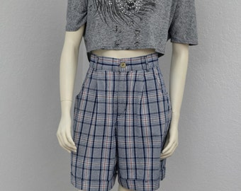 """Vintage 80s Red White and Blue Plaid High Waisted Shorts, Pleated Shorts, Cuffed Shorts, Patriotic Shorts, High Rise Shorts, 28"""" Waist"""
