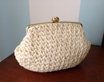 Woven Evening Purse with Rose Clasp Morris Moskowitz