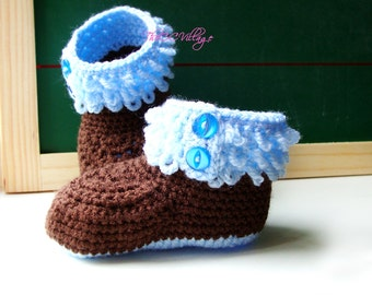 Crochet baby boy booties, brown and blue handmade shoes