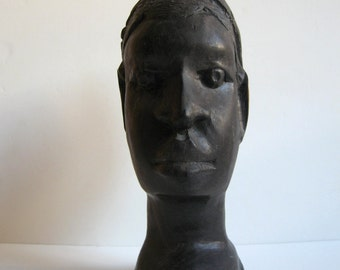 ebony hand carved African man bust