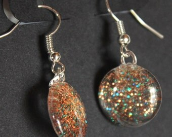 Copper and turquoise glitter earrings glitter nail polish jewelry sparkly fishhook earrings