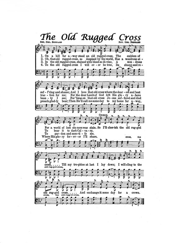 Bewitching image inside old rugged cross printable sheet music