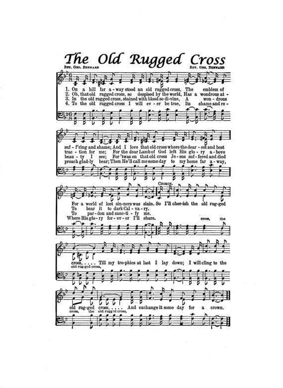 Universal image inside old rugged cross printable sheet music