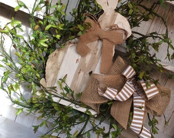 Easter Bunny Wreath,Natural Bunny Wreath, Easter Wreath,Spring Door Wreath,Double Door Wreath,white bunny wreath,Country Bunny Wreath
