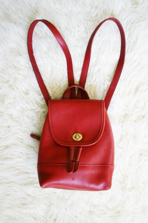 Red Leather Mini Backpack Purse / vintage bags & purses