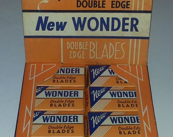 Vintage New Wonder Razor Blade Advertising Store Display