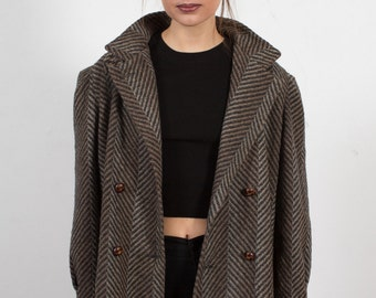 Vintage Button-Collar Diagonal Angle Print Wool Coat