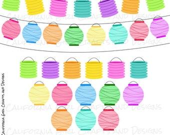 Paper Party Lanterns Clipart Set - Instant Digital Download
