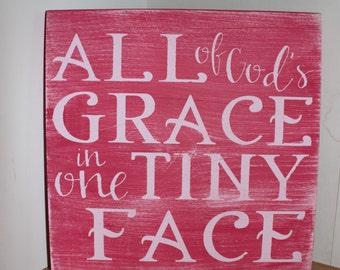 All God's Grace- Nursery Sign- Home Decor- Baby Shower Gift- Nursery Decor- Christian Sign- Gift for Baby- Nursery- Grace Sign- Wood Sign