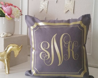 OVERSTOCK INVENTORY SALE! Gray Monogram Throw Pillow Cover