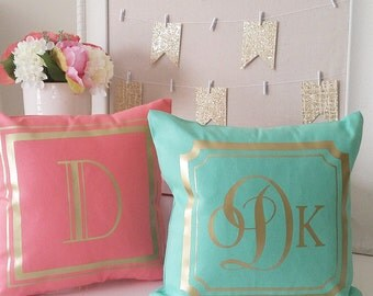 OVERSTOCK INVENTORY SALE! Teal Monogram Throw Pillow Cover