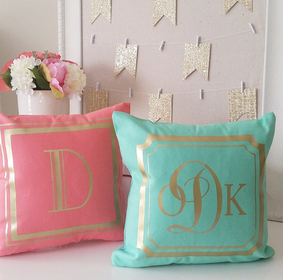 Personalized Accent Pillow Cover Teal Coral Gray Hot Pink