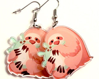Cute Sloth Earrings, sloth, sloth gift, sloth lover, cute animal, fun jewelry, kawaii earrings, three toed, animal jewelry