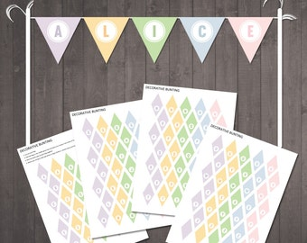 Pastel Cake Garland- PRINTABLE  Mini Pastel Cake Topper Flags - INSTANT DOWNLOAD
