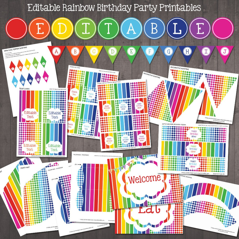 editable rainbow party decorations printable rainbow party