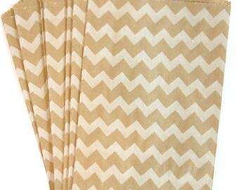100 Chevron White on Brown Medium Paper Food Safe Craft Favor Bags