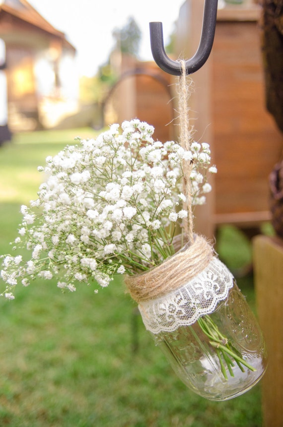 DIY wedding decorations hanging mason jars