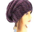 Purple Tweed slouch hat - beanies hat - dark purple hat - chunky hat - Chunky Knit Winter Fall Accessories , Slouchy hat, irish knitted hats