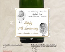 50th Anniversary Party Favors, Golden Anniversary, Silver Anniversary, Wine Labels, wine accessories, 25th anniversary (Set of 24)(L18)