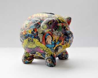 Decoupaged Marvel Superheroes Piggy Bank