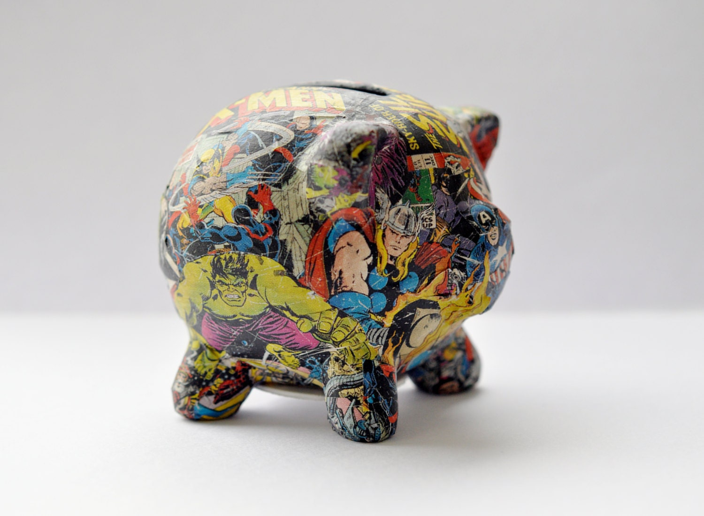 Decoupaged Marvel Superheroes Piggy Bank