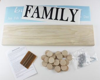 Family Birthday Board DIY KIT Wood Sign - Family Celebrations Diy Kit - Custom Wooden Birthday Sign - BDK