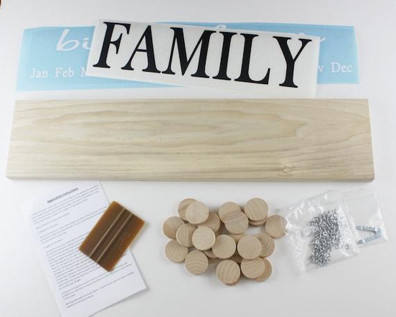 Diy Birthday Calendar : Family birthday board diy kit wood sign celebrations