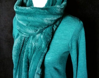 Teal Blue Green Faux Fur Infinity Scarf